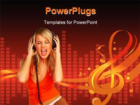 PowerPoint template displaying girl in rhythm in the background.