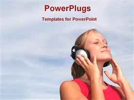PowerPoint template displaying a girl listening to music with clouds in the background