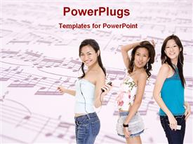 Girls are enjoying music powerpoint design layout