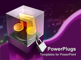 PowerPoint template displaying a music box in 3D form with a lock
