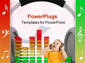 Graphic Equalizer and head phones music concept powerpoint template