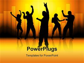 PowerPoint template displaying silhouette of people dancing with graphic equalizer bars in background