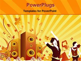 Guys dancing in front of speaker powerpoint design layout