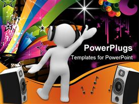 PowerPoint template displaying human with headphones dancing with speakers, records, colorful shapes