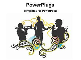 PowerPoint template displaying illustrated music concert in the background.
