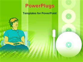 PowerPoint template displaying a person listening to music with greenish background