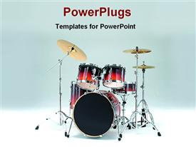 PowerPoint template displaying a beautiful depiction of drums and a nice background