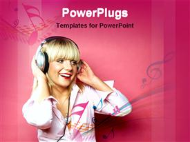PowerPoint template displaying lady enjoy to listen music in the background.