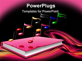 PowerPoint template displaying learn to make music by book 3D icon