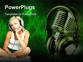 PowerPoint template displaying thoughtful woman wearing headphones next to chrome microphone