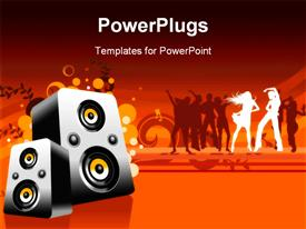 PowerPoint template displaying loudspeaker with people dancing in background
