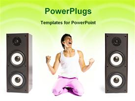 PowerPoint template displaying an athletic lady kneeling and shouting in between two speakers