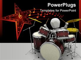 PowerPoint template displaying man playing the drums in the background.