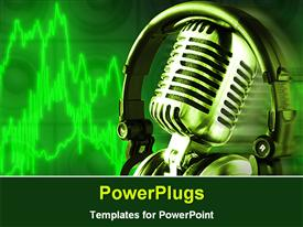 PowerPoint template displaying hi tech microphone with a head set on a green background