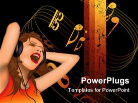PowerPoint template displaying woman with headphone sings aloud with music symbols on white background