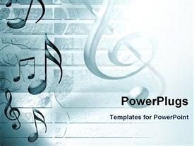 Music background with notes and sheet music powerpoint template
