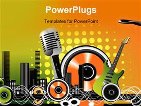 PowerPoint template displaying music elements with cool background