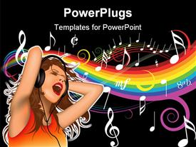 Music girl 06 - height detailed and colored illustration powerpoint design layout