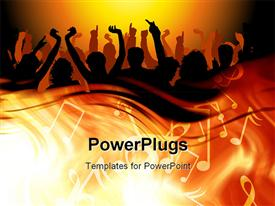 PowerPoint template displaying 3D graphics of lots of people raising ther hands and dancing with a music theme