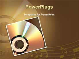 PowerPoint template displaying  musical CD with a stretch of musical note mirrored on the surface
