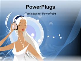 PowerPoint template displaying a 3D human character in white wearing a large headset