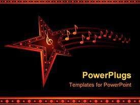 PowerPoint template displaying neon star with music notes isolated on black in the background.