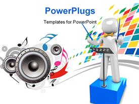 PowerPoint template displaying 3D Orchestra conductor stands on blue podium with speakers and music symbols