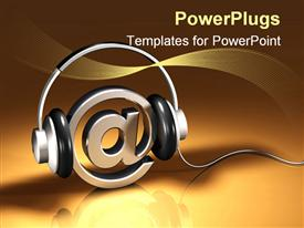 PowerPoint template displaying pair of headphones on a chrome metallic at/email symbol in the background.