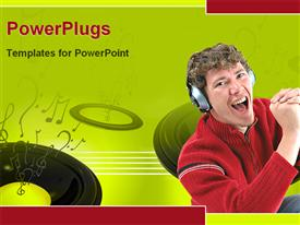 PowerPoint template displaying person enjoying music in the background.