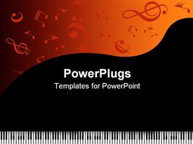 PowerPoint template displaying piano keys with music symbols on black and orange background