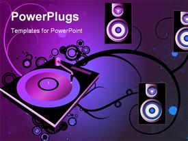 PowerPoint template displaying a number of speakers and disks with purple background
