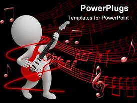 PowerPoint template displaying small people playing an electro guitar. 3D depiction in the background.