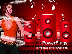 PowerPoint template displaying an abstract of a lady dancing to a music