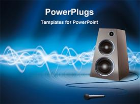 PowerPoint template displaying speaker with microphone in the background.