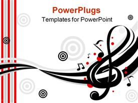 PowerPoint template displaying stylish design of music notes in the background.