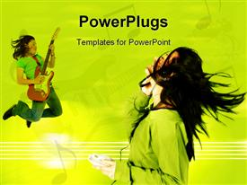 PowerPoint template displaying teenage girl jumping whilst playing an electric guitar in the background.