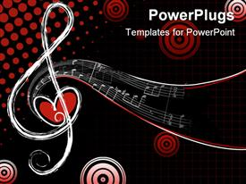 PowerPoint template displaying different shapes of musical notes with love, Red and black background