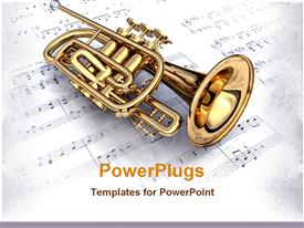 PowerPoint template displaying gold 3D colored trumpet on a white music note