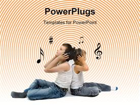PowerPoint template displaying two young brothers sit back-to-back listening to their favorite music on headsets in the background.
