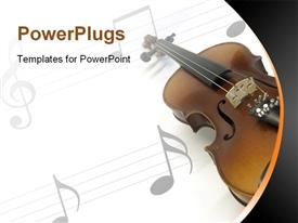 PowerPoint template displaying violin on white music sheet with gray music notes on sheet