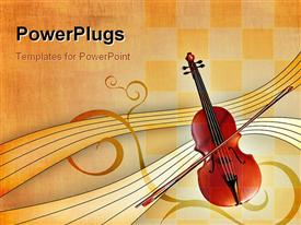 PowerPoint template displaying music depiction with violin, bow and music notes