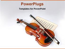 PowerPoint template displaying violin sitting on vintage music sheet on white background