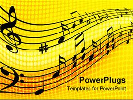 PowerPoint template displaying abstract depiction of black musical notes and lines on a yellow background