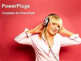 PowerPoint template displaying young lady listening music with headset in the background.