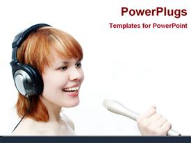 PowerPoint template displaying a pretty lady wearing headphones and singing into a microphone
