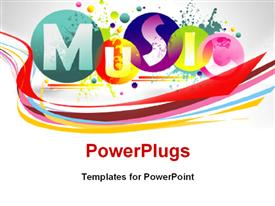 PowerPoint template displaying music abstract colorful background with keyword Music