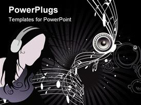 PowerPoint template displaying lady with headphones in dark background with music notes