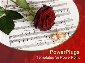 PowerPoint template displaying on a depiction Red rose on music sheet in the background.
