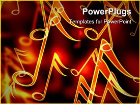 PowerPoint template displaying close up of golden music notes in red background