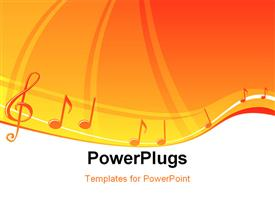 PowerPoint template displaying music notes design at bright orange background